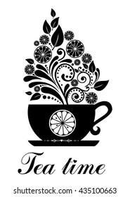 Tea with lemon isolated on White background.  illustration