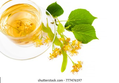 Tea from Linden flowers in glass cup with flower clusters of lime about a cup isolated on white background