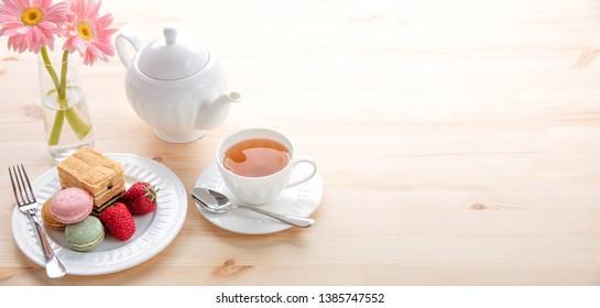 tea and macarons on the table