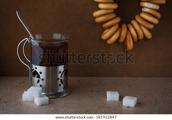 Tea in the old Soviet mug, retro
