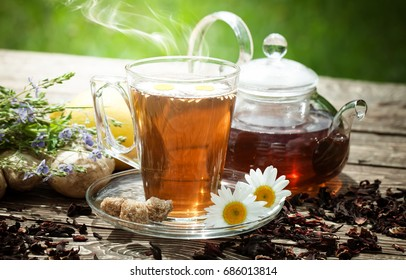 Tea on the background of nature