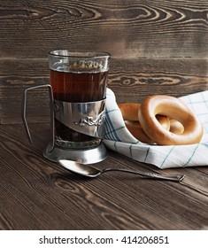 Tea on wooden table