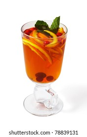 Tea with orange and cranberries with mint
