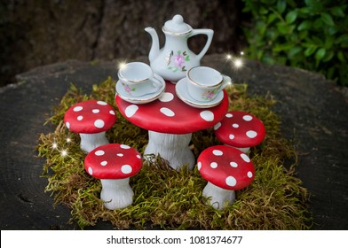 Tea party with fairies in forest