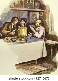 """Tea Party. Father sitting at the bedside of his daughter. Illustration by artist Zahar Pichugin from book """"Leo Tolstoy """"Anna Karenina"""", publisher - """"Partnership Sytin"""", Moscow, Russia, 1914."""