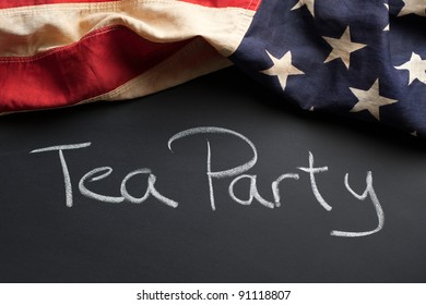 Tea Party sign with vintage American flag