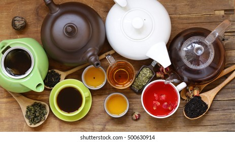Tea Party Still Life assortment tea, black, green, fruit