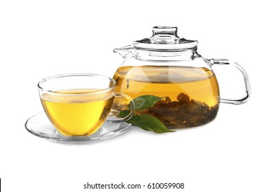 Tea pot with cup isolated on white