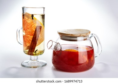Tea pot. Winter season beverage on white background.