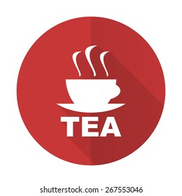 tea red flat icon hot cup of tea sign