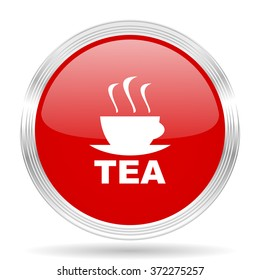 tea red glossy circle modern web icon on white background