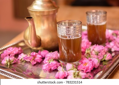 Tea with roses on on a tray in Kalat M'Goun, Morocco