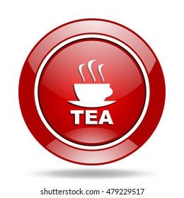 tea round glossy red web icon