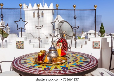 Tea service on terrace in the kasbah of Tangier, Morocco