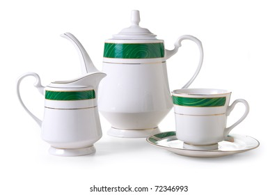 Tea service on a white background. Isolated path included.