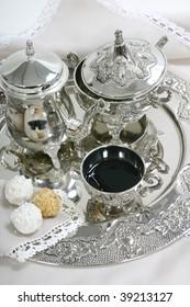 tea set and cookies close up