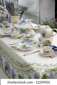 tea set in country style with lavender