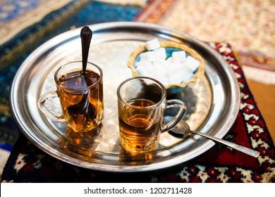 A tea set in local tea house. Traditional Iranian tea ritual. Travelling through Iran