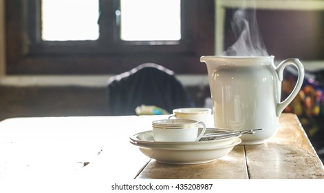 Tea Set in the Mountain Cabin