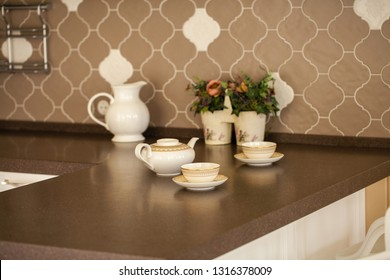 Tea set on the kitchen table
