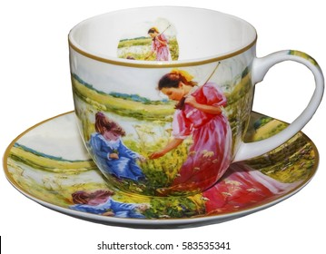 tea set, saucer. Cup, white background
