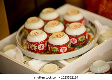 Tea set used in a Chinese wedding tea ceremony. Chinese wedding tea ceremony serving to elders.Chinese Tea ceremony is performed during a wedding or Chinese New Year.