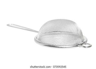 Tea strainer (small sieve) with handle. Isolated with clipping path.