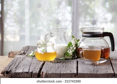 Tea submitted with milk and honey