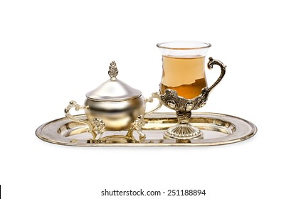 tea and sugar bowl on a tray