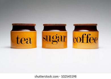 Tea, Sugar and Coffee crockery pots.
