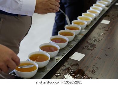The tea tasting process in the lab. Grading from the colour , texture, aroma and also the taste of the tea.