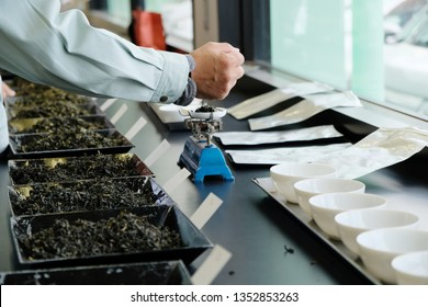 The tea tasting process in the lab. Grading from the colour, texture, aroma and also the taste of the tea.