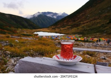 tea time at Amazing trekking area in the North Japan Alps