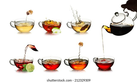 Tea. Tea time concept. Different kinds of black, green, herbal and oolong tea in transparent cups. Tea with fresh, clean look. Tea splashes. Tea pouring.