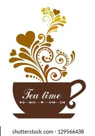 Tea time. Cup with floral design elements. illustration.