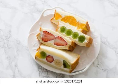 Tea time home made fruit sandwich