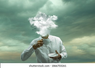 Tea time. Male body of model with head full of smoke about sky and clouds. Trendy colours, gradient grey-white background. Contemporary art collage. Inspiration, mood, creativity, brain concept