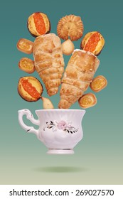 Tea Time. Retro poster with various pastry.