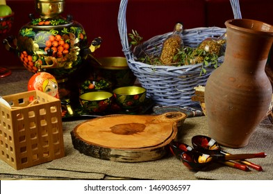 tea, traditional Russian dishes kitchen in the house in the old Russian style, cups spoons, tea, Moskow