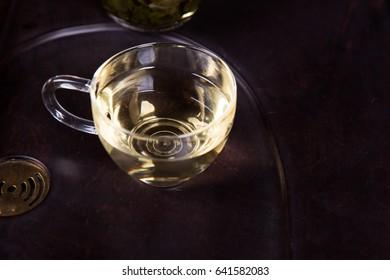Tea in a transparent glass.