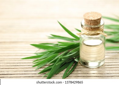 Tea tree essential oil in the galss bottle, on the wooden board