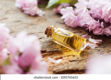 tea tree oil in the amber glass bottle