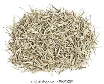 Tea - white tea leaves. Chinese silver needle white tea of premium luxury quality. Bai Hao Yinzhen tea on white background.