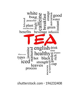 Tea Word Cloud Concept in red caps with great terms such as hot, beverage, drink and more.