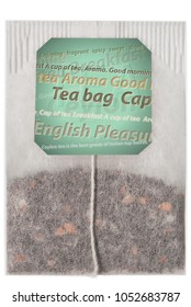 Teabag of close-up on a white isolated background and ready free space copyspace on the label