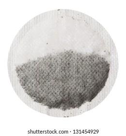 Teabag isolated on white background, close up