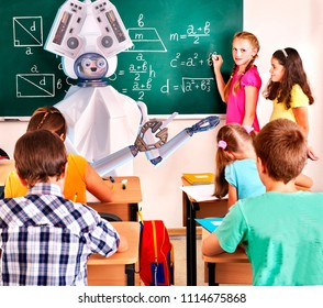 Teacher ai robot helps school children group girl and boy in class blackboard background. Interactive ai online artificial intelligence learning future for kids at summer camp concept.