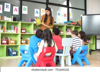 teacher attend in teaching preschool kids kindergarten to learning in the class room together