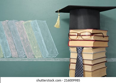 Teacher before blackboard with drawing of books. Education concept
