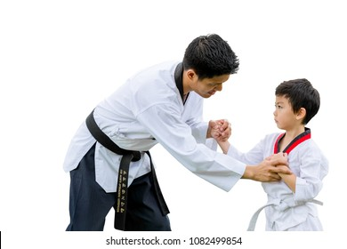 Teacher Black belt Taekwondo Fighter Kid Punch Guard Stand for Flight isolated on white background with clipping path